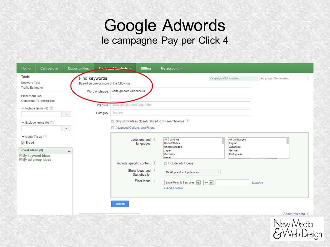 Google Adwords le campagne Pay per Click 4
