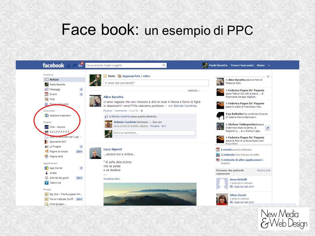 Face book: un esempio di PPC