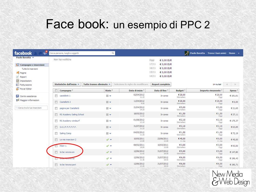 Face book: un esempio di PPC 2