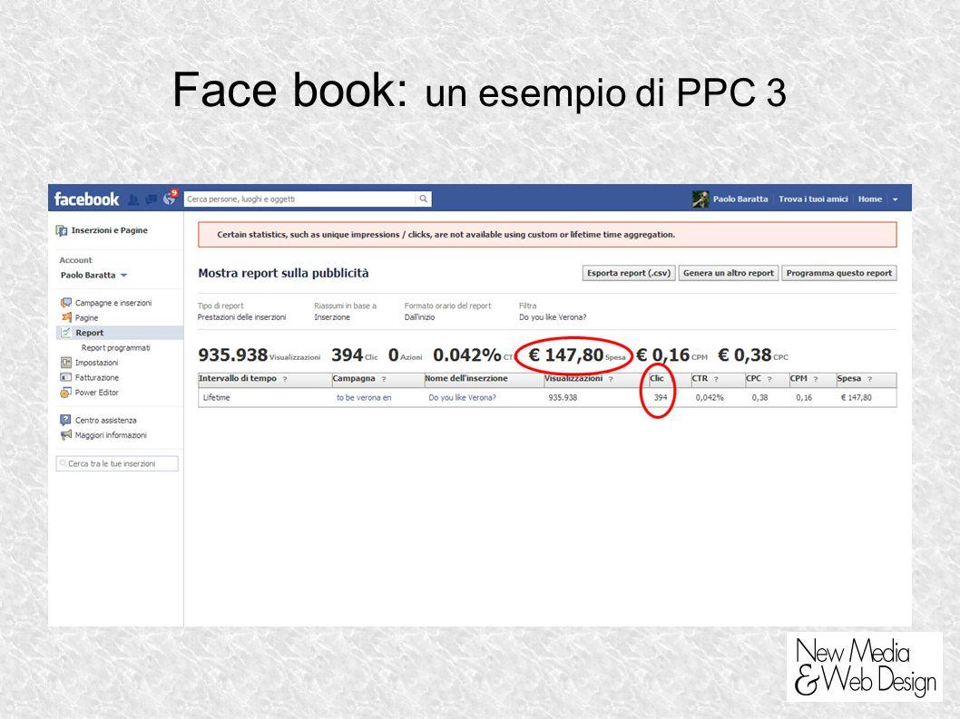 Face book: un esempio di PPC 3