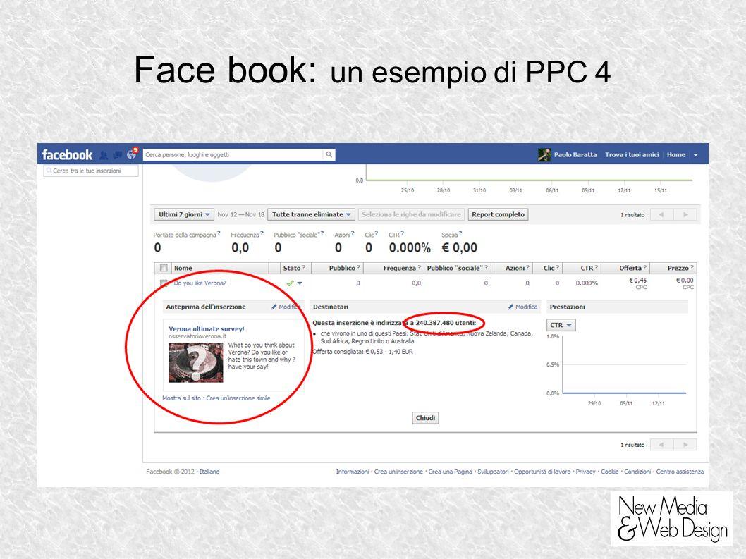 Face book: un esempio di PPC 4