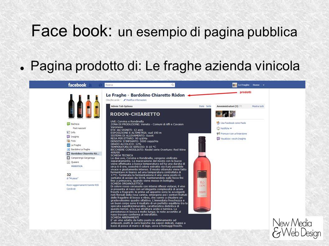 Face book: un esempio di pagina pubblica Pagina prodotto di: Le fraghe azienda vinicola