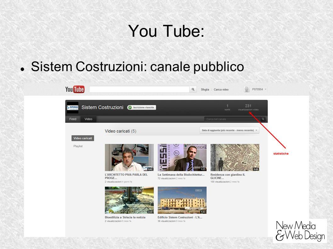 You Tube: Sistem Costruzioni: canale pubblico