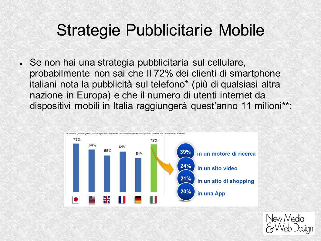 Strategie Pubblicitarie Mobile Se non hai una strategia pubblicitaria sul cellulare, probabilmente non sai che Il 72% dei clienti di smartphone italiani nota la pubblicità sul telefono* (più di qualsiasi altra nazione in Europa) e che il numero di utenti internet da dispositivi mobili in Italia raggiungerà questanno 11 milioni**: