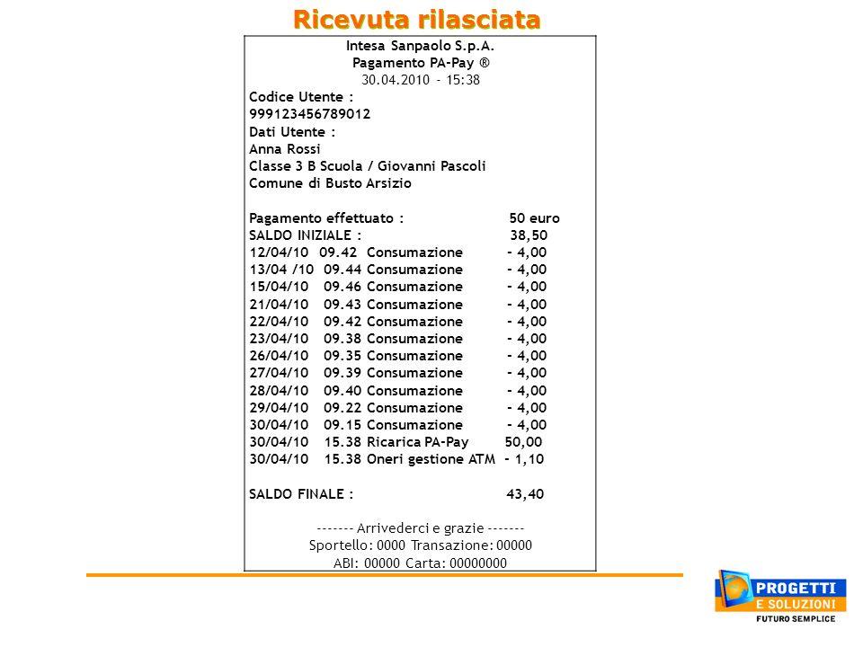 Ricevuta rilasciata Intesa Sanpaolo S.p.A. Pagamento PA-Pay ® 30.04.2010 - 15:38 Codice Utente : 999123456789012 Dati Utente : Anna Rossi Classe 3 B S