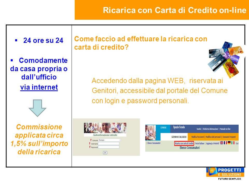 Ricarica con Carta di Credito on-line 24 ore su 24 Comodamente da casa propria o dallufficio via internet Commissione applicata circa 1,5% sullimporto