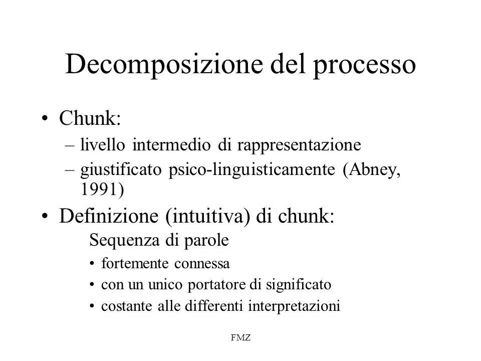 FMZ Decomposizione del processo Chunk: –livello intermedio di rappresentazione –giustificato psico-linguisticamente (Abney, 1991) Definizione (intuitiva) di chunk: Sequenza di parole fortemente connessa con un unico portatore di significato costante alle differenti interpretazioni