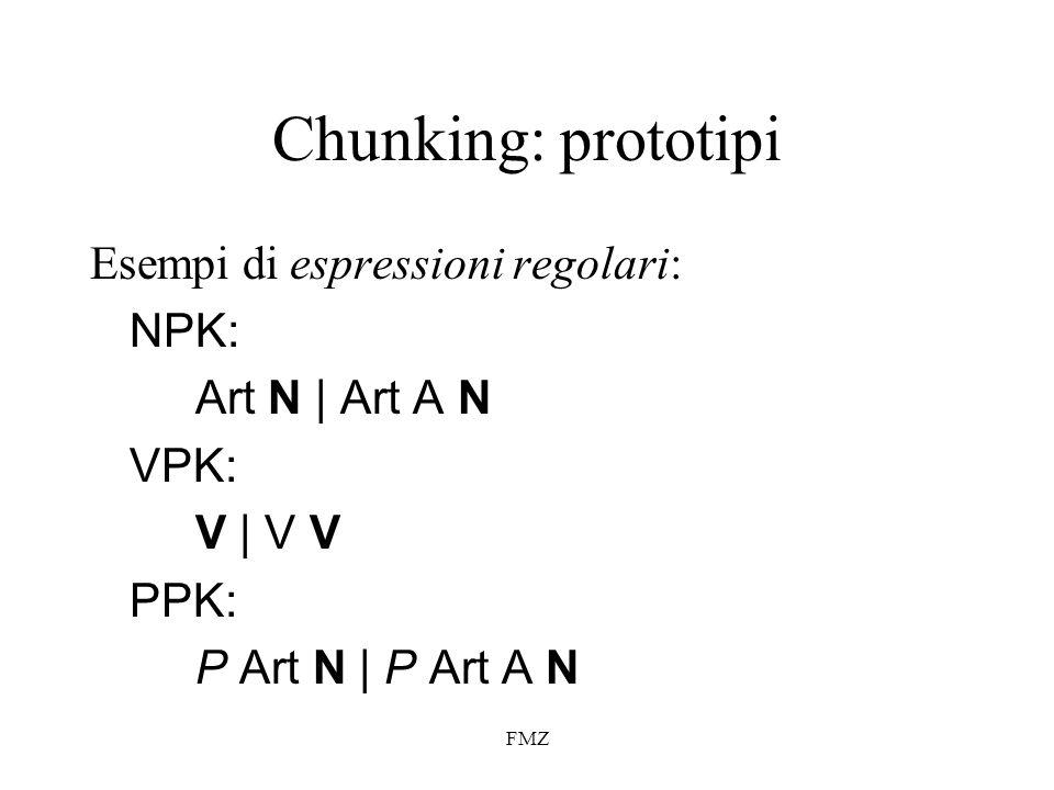 FMZ Chunking: prototipi Esempi di espressioni regolari: NPK: Art N   Art A N VPK: V   V V PPK: P Art N   P Art A N