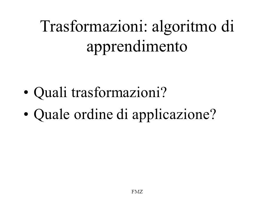 FMZ Trasformazioni: algoritmo di apprendimento Quali trasformazioni? Quale ordine di applicazione?