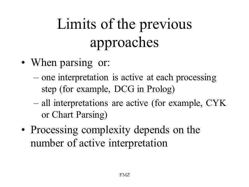 FMZ Modular approach Syntactic parser SP(S,K)=I SP(S)=I Syntactic parsing module: P i (S i,K i )=S i+1 P i (S i )=S i+1 Modular syntactic parser SP = P n...