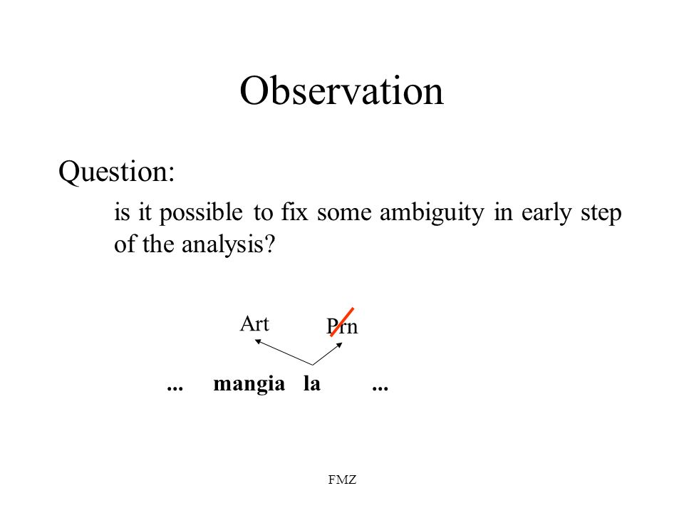 FMZ Observation Question: is it possible to fix some ambiguity in early step of the analysis? lamangia... Art Prn