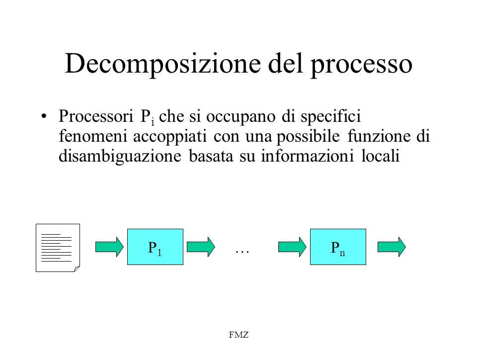 FMZ Decomposizione del processo Processori P i che si occupano di specifici fenomeni accoppiati con una possibile funzione di disambiguazione basata su informazioni locali P1P1 PnPn … P1P1 PnPn