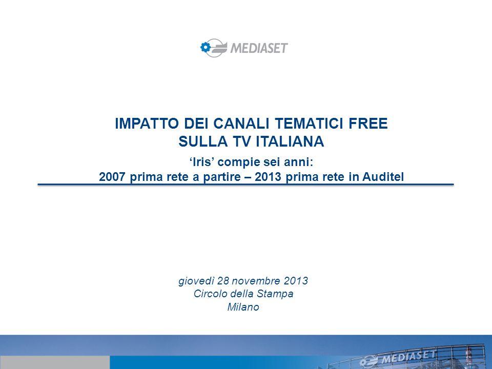 IMPATTO DEI CANALI TEMATICI FREE SULLA TV ITALIANA Iris compie sei anni: 2007 prima rete a partire – 2013 prima rete in Auditel giovedì 28 novembre 20