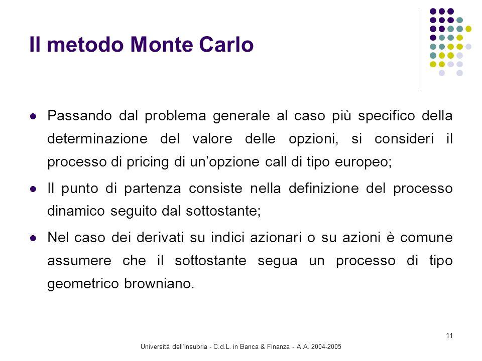 Università dell'Insubria - C.d.L. in Banca & Finanza - A.A. 2004-2005 11 Il metodo Monte Carlo Passando dal problema generale al caso più specifico de