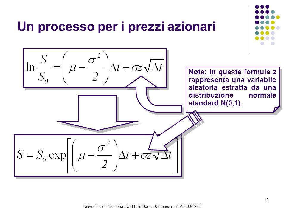Università dell'Insubria - C.d.L. in Banca & Finanza - A.A. 2004-2005 13 Un processo per i prezzi azionari Nota: In queste formule z rappresenta una v