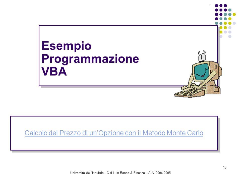 Università dell'Insubria - C.d.L. in Banca & Finanza - A.A. 2004-2005 15 Esempio Programmazione VBA Calcolo del Prezzo di unOpzione con il Metodo Mont