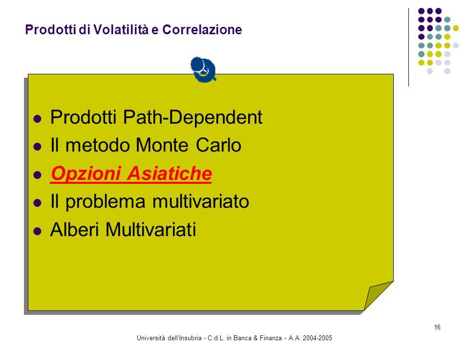 Università dell'Insubria - C.d.L. in Banca & Finanza - A.A. 2004-2005 16 Prodotti Path-Dependent Il metodo Monte Carlo Opzioni Asiatiche Il problema m