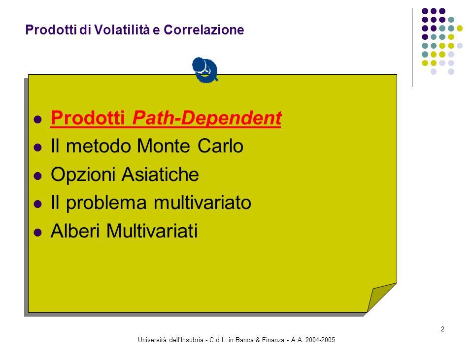 Università dell'Insubria - C.d.L. in Banca & Finanza - A.A. 2004-2005 2 Prodotti Path-Dependent Il metodo Monte Carlo Opzioni Asiatiche Il problema mu