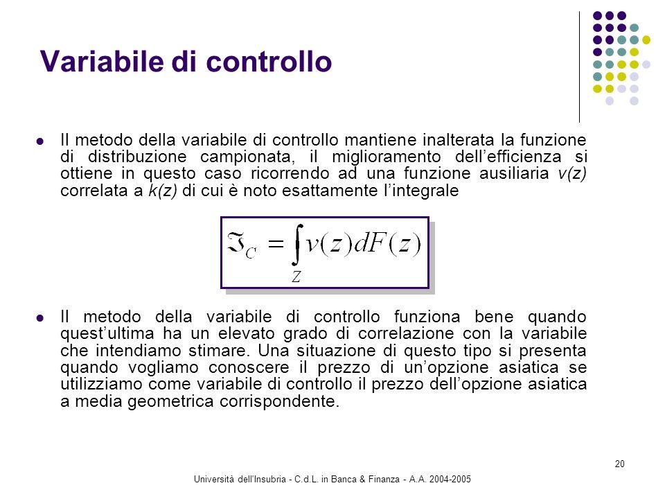 Università dell'Insubria - C.d.L. in Banca & Finanza - A.A. 2004-2005 20 Variabile di controllo Il metodo della variabile di controllo mantiene inalte
