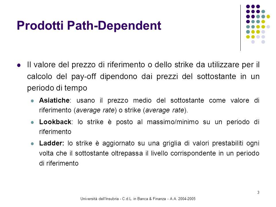 Università dell'Insubria - C.d.L. in Banca & Finanza - A.A. 2004-2005 3 Prodotti Path-Dependent Il valore del prezzo di riferimento o dello strike da