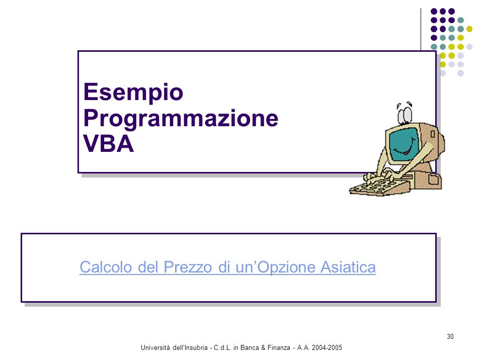 Università dell'Insubria - C.d.L. in Banca & Finanza - A.A. 2004-2005 30 Esempio Programmazione VBA Calcolo del Prezzo di unOpzione Asiatica