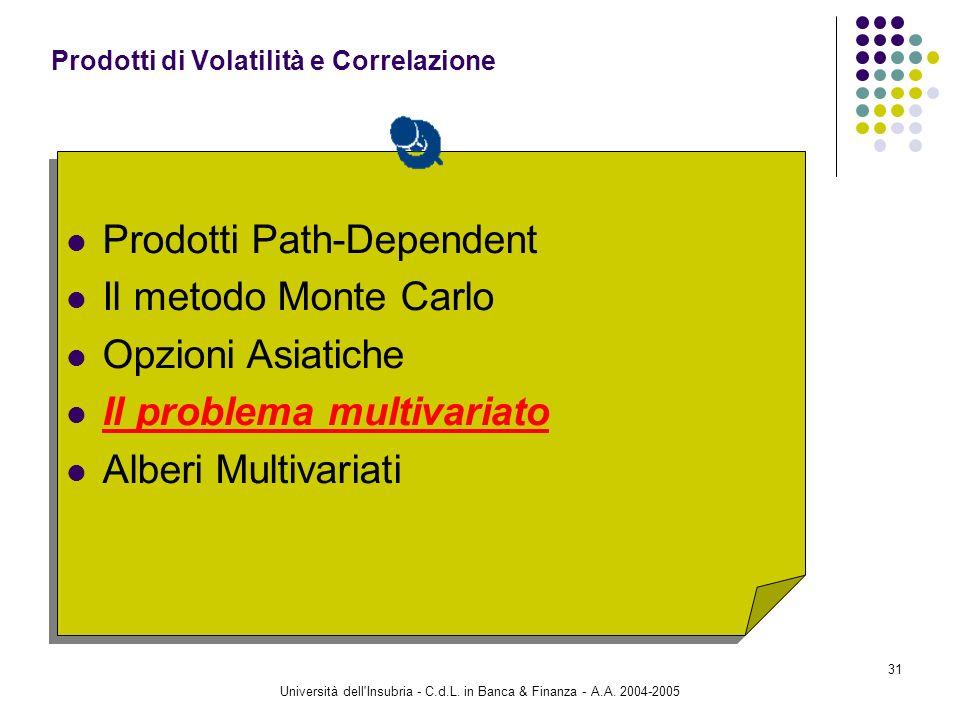 Università dell'Insubria - C.d.L. in Banca & Finanza - A.A. 2004-2005 31 Prodotti Path-Dependent Il metodo Monte Carlo Opzioni Asiatiche Il problema m