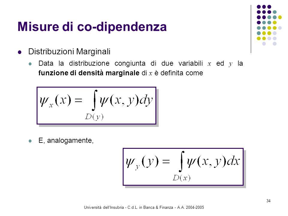 Università dell'Insubria - C.d.L. in Banca & Finanza - A.A. 2004-2005 34 Misure di co-dipendenza Distribuzioni Marginali Data la distribuzione congiun