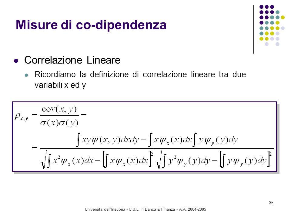 Università dell'Insubria - C.d.L. in Banca & Finanza - A.A. 2004-2005 36 Correlazione Lineare Ricordiamo la definizione di correlazione lineare tra du