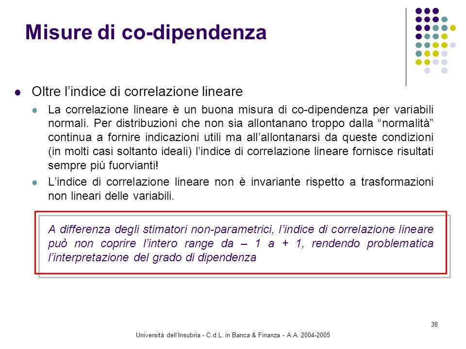 Università dell'Insubria - C.d.L. in Banca & Finanza - A.A. 2004-2005 38 Oltre lindice di correlazione lineare La correlazione lineare è un buona misu