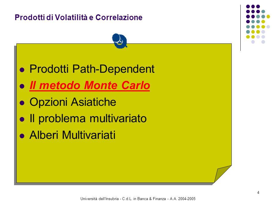 Università dell'Insubria - C.d.L. in Banca & Finanza - A.A. 2004-2005 4 Prodotti Path-Dependent Il metodo Monte Carlo Opzioni Asiatiche Il problema mu