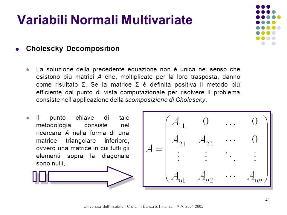 Università dell'Insubria - C.d.L. in Banca & Finanza - A.A. 2004-2005 41 Cholescky Decomposition La soluzione della precedente equazione non è unica n