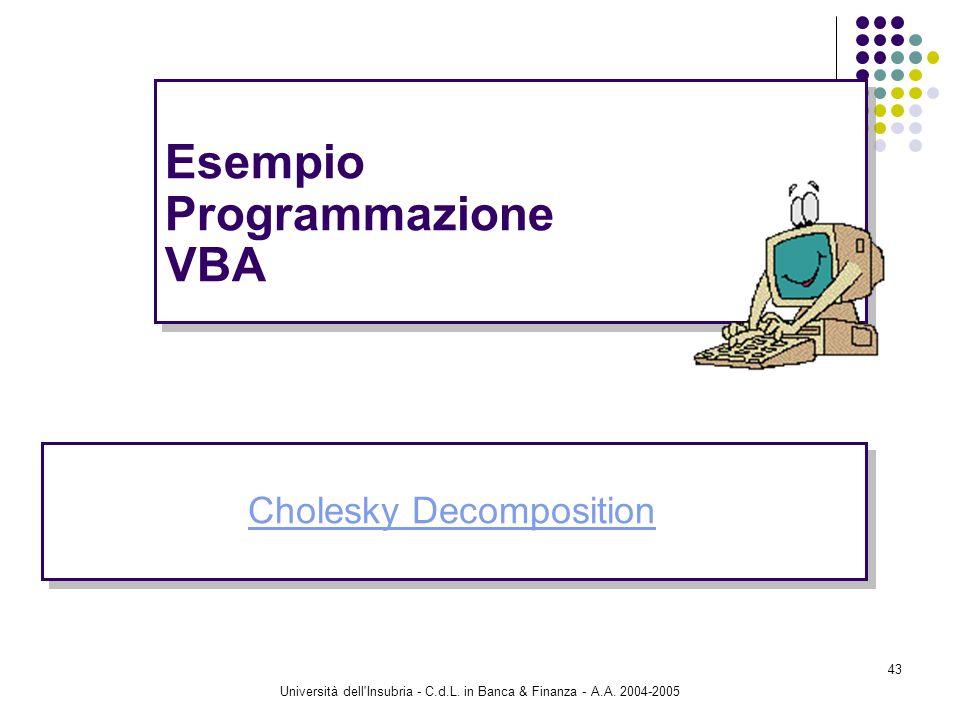 Università dell'Insubria - C.d.L. in Banca & Finanza - A.A. 2004-2005 43 Esempio Programmazione VBA Cholesky Decomposition