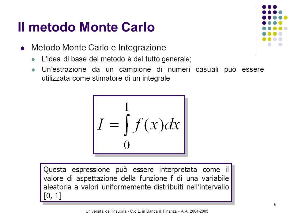 Università dell'Insubria - C.d.L. in Banca & Finanza - A.A. 2004-2005 6 Il metodo Monte Carlo Metodo Monte Carlo e Integrazione Lidea di base del meto