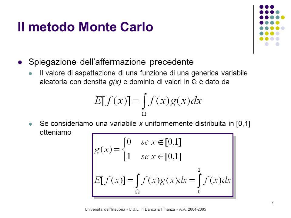 Università dell'Insubria - C.d.L. in Banca & Finanza - A.A. 2004-2005 7 Il metodo Monte Carlo Spiegazione dellaffermazione precedente Il valore di asp