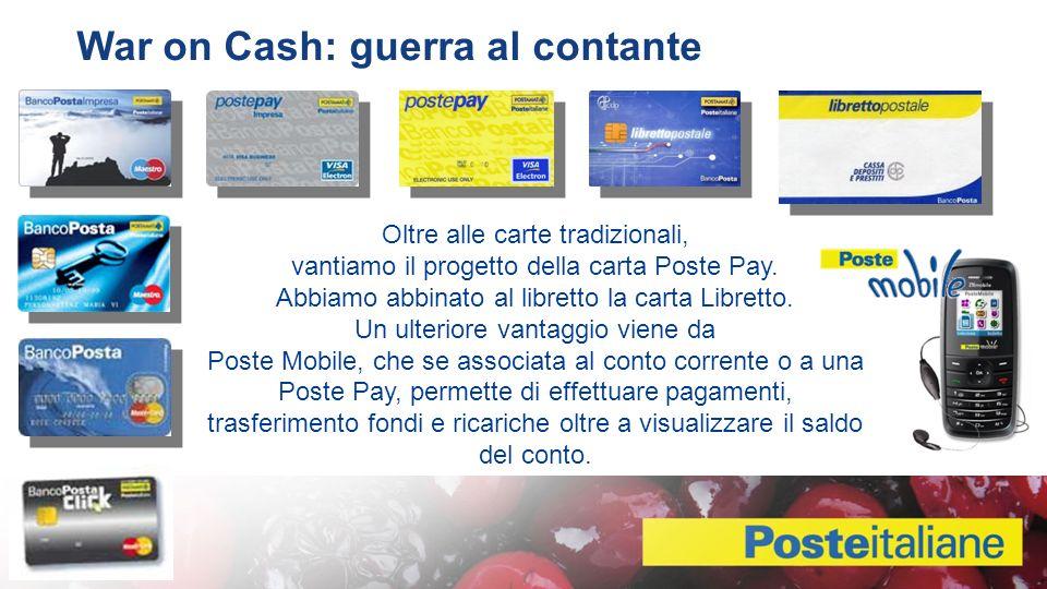 Oltre alle carte tradizionali, vantiamo il progetto della carta Poste Pay.