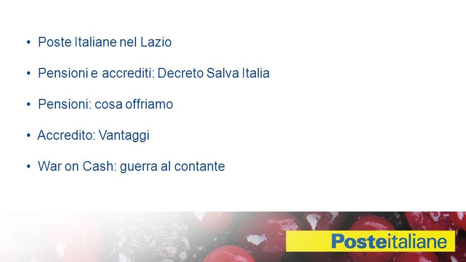 Poste Italiane nel Lazio Pensioni e accrediti: Decreto Salva Italia Pensioni: cosa offriamo Accredito: Vantaggi War on Cash: guerra al contante