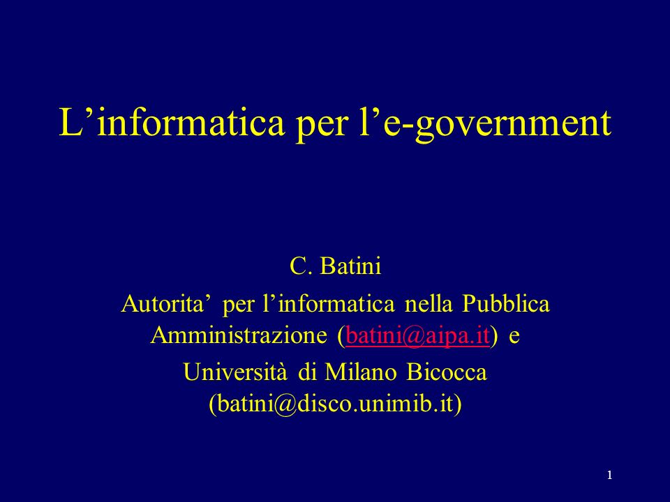 1 Linformatica per le-government C.
