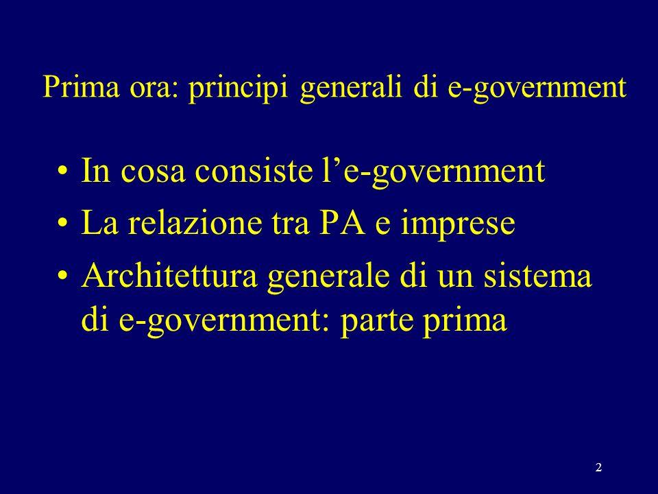 2 Prima ora: principi generali di e-government In cosa consiste le-government La relazione tra PA e imprese Architettura generale di un sistema di e-government: parte prima