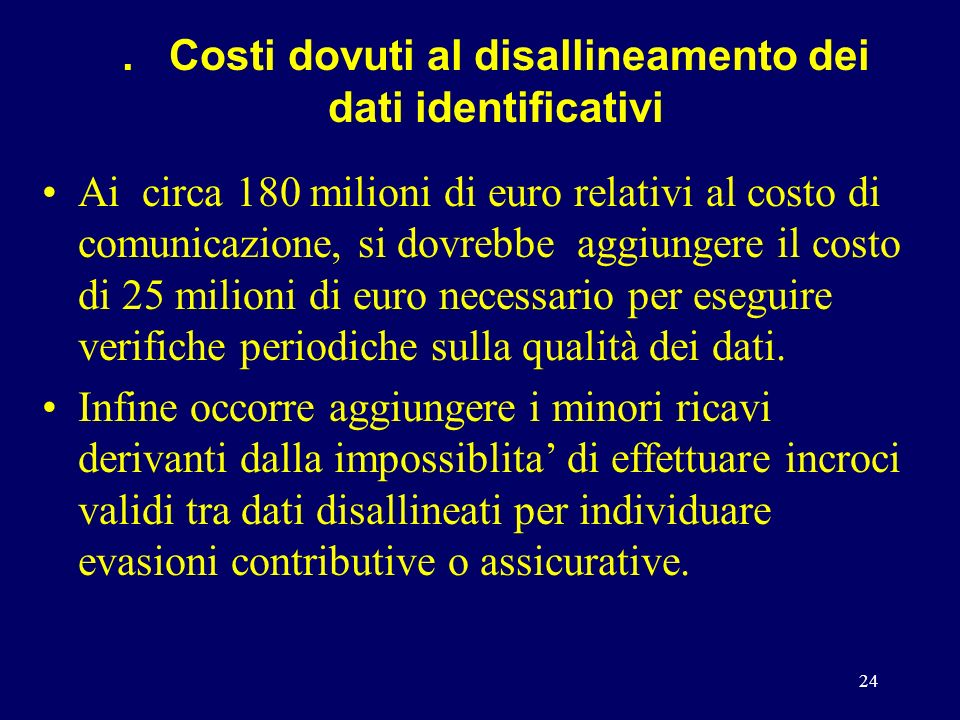 24. Costi dovuti al disallineamento dei dati identificativi Ai circa 180 milioni di euro relativi al costo di comunicazione, si dovrebbe aggiungere il