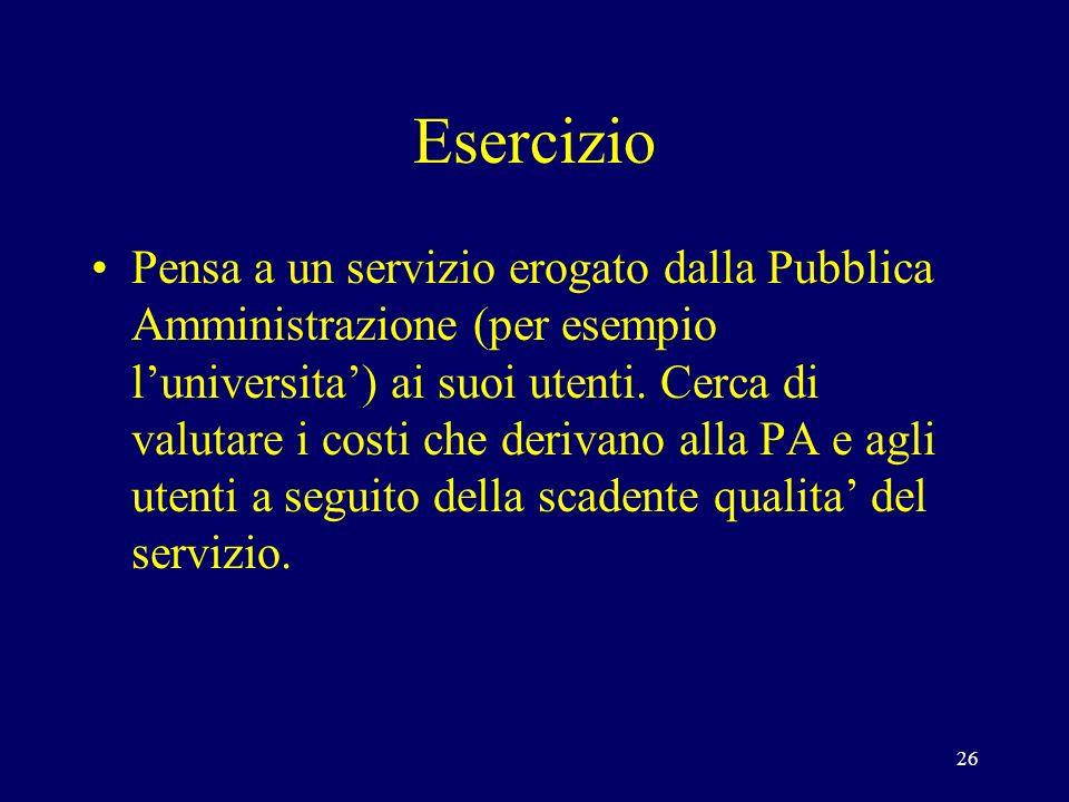 26 Esercizio Pensa a un servizio erogato dalla Pubblica Amministrazione (per esempio luniversita) ai suoi utenti.
