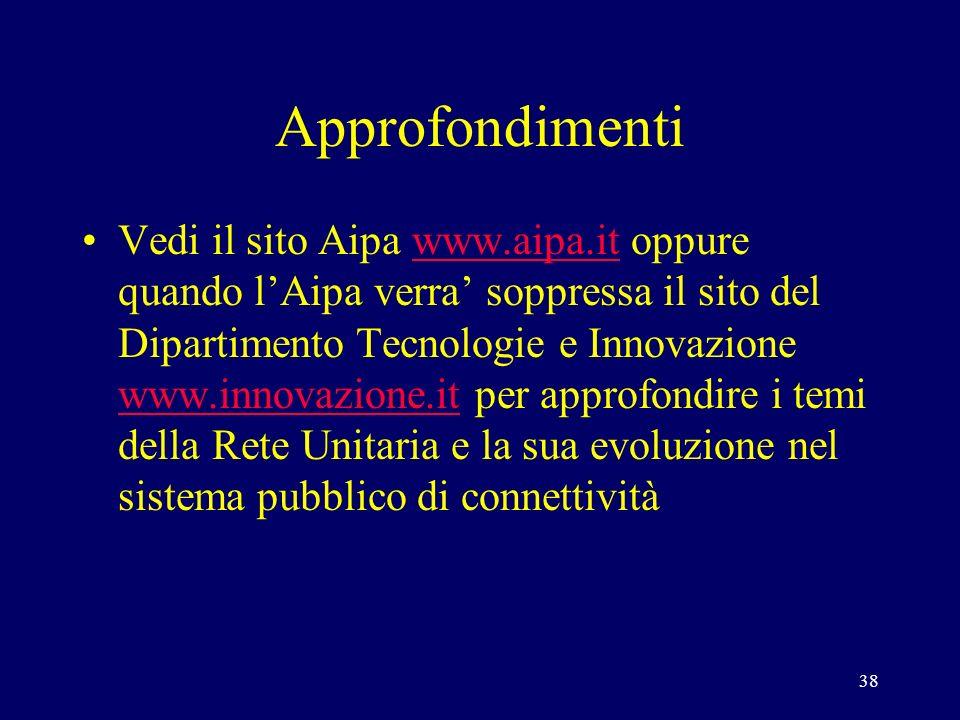 38 Approfondimenti Vedi il sito Aipa www.aipa.it oppure quando lAipa verra soppressa il sito del Dipartimento Tecnologie e Innovazione www.innovazione.it per approfondire i temi della Rete Unitaria e la sua evoluzione nel sistema pubblico di connettivitàwww.aipa.it www.innovazione.it