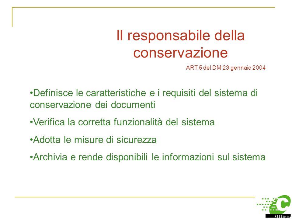 Conservazione dei documenti informatici Delib. CNIPA n.11 19/2/04 e DM 23/01/04 Conservazione sostitutiva documenti informatici: Il responsabile della