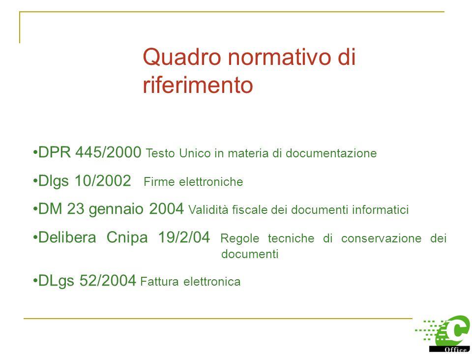 2004: la conservazione sostitutiva al via Dai primi anni 90 inizia il processo legislativo in materia di archivi e documenti elettronici. Col Testo Un