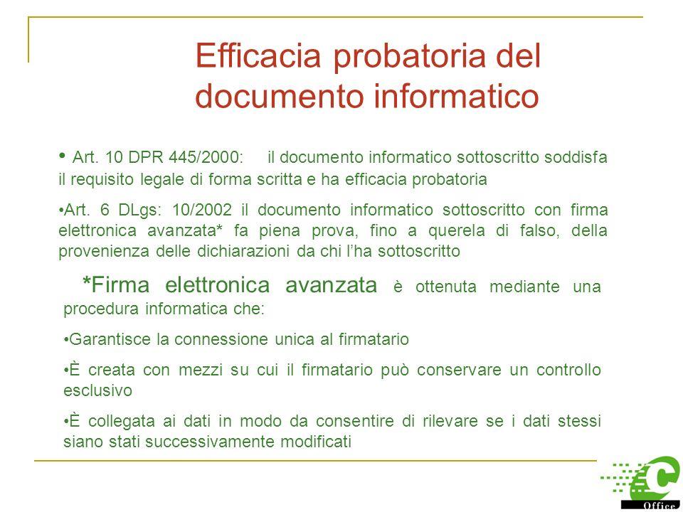 Quadro normativo di riferimento DPR 445/2000 Testo Unico in materia di documentazione Dlgs 10/2002 Firme elettroniche DM 23 gennaio 2004 Validità fisc