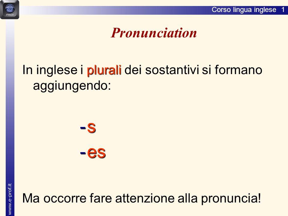 Corso lingua inglese 1 Pronunciation plurali In inglese i plurali dei sostantivi si formano aggiungendo: -s-s-s-s -es Ma occorre fare attenzione alla