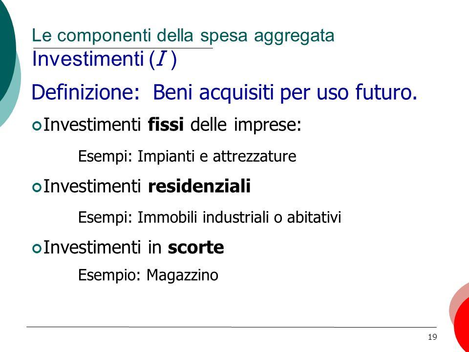 19 Le componenti della spesa aggregata Investimenti ( I ) Definizione: Beni acquisiti per uso futuro.