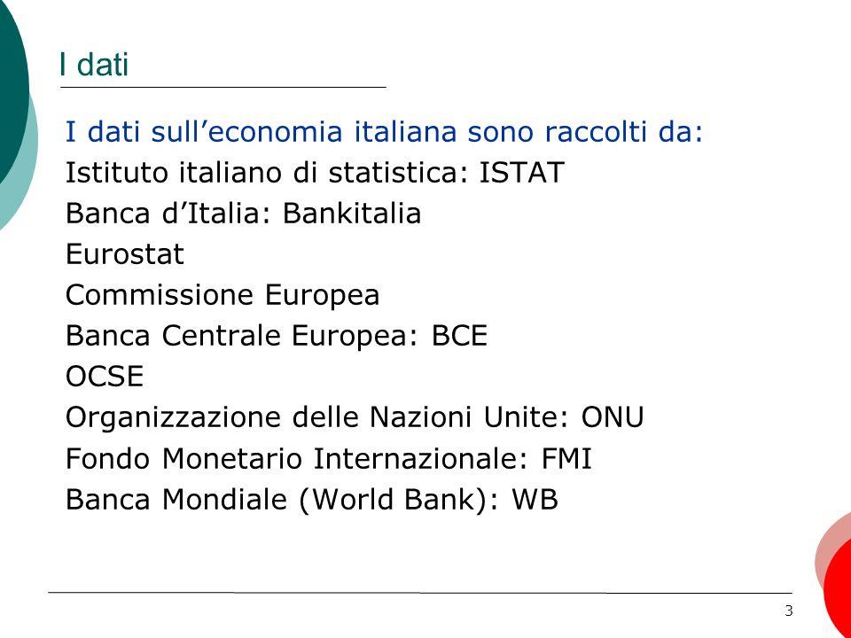 3 I dati I dati sulleconomia italiana sono raccolti da: Istituto italiano di statistica: ISTAT Banca dItalia: Bankitalia Eurostat Commissione Europea Banca Centrale Europea: BCE OCSE Organizzazione delle Nazioni Unite: ONU Fondo Monetario Internazionale: FMI Banca Mondiale (World Bank): WB
