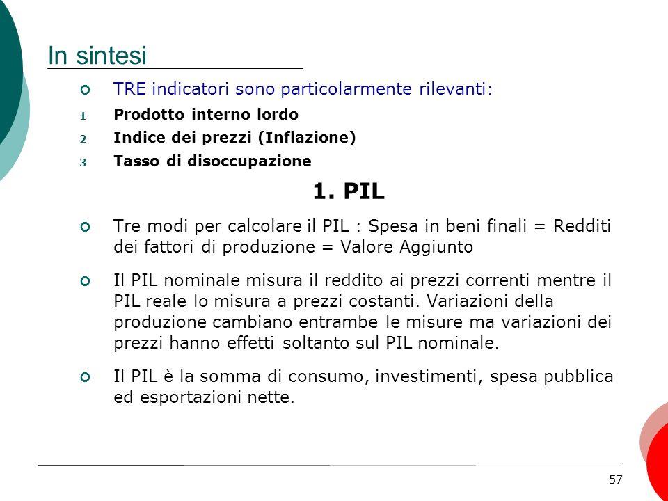 57 In sintesi TRE indicatori sono particolarmente rilevanti: 1 Prodotto interno lordo 2 Indice dei prezzi (Inflazione) 3 Tasso di disoccupazione 1.