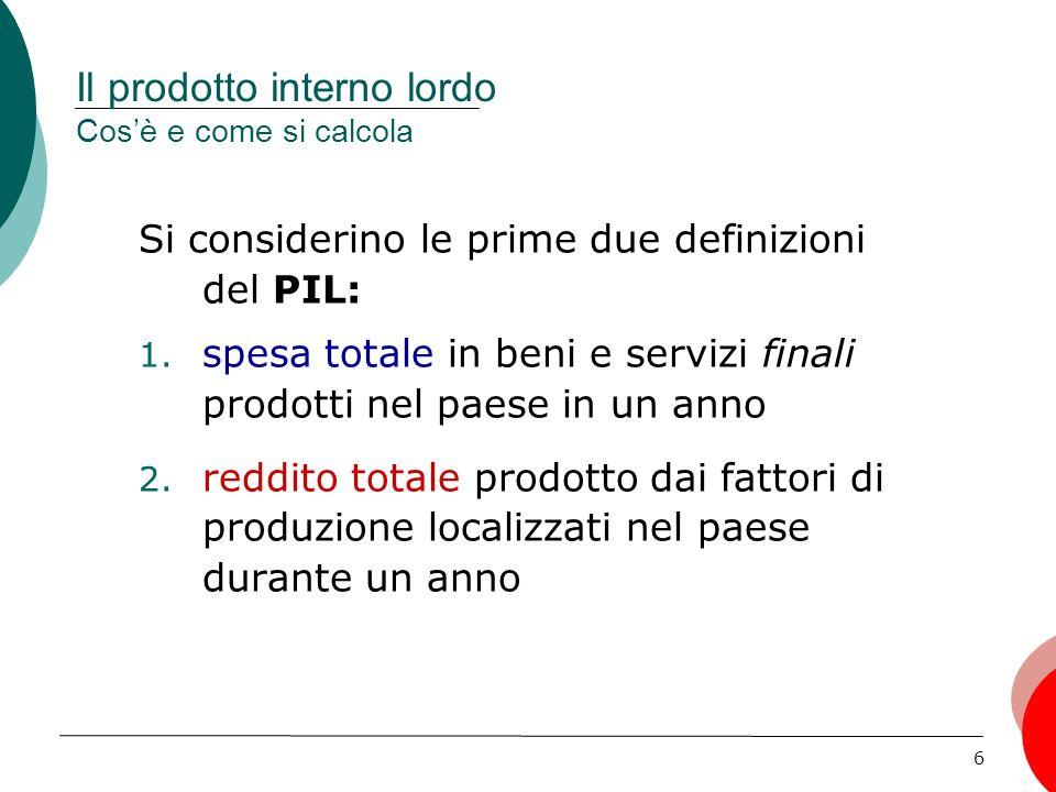 6 Il prodotto interno lordo Cosè e come si calcola Si considerino le prime due definizioni del PIL: 1.