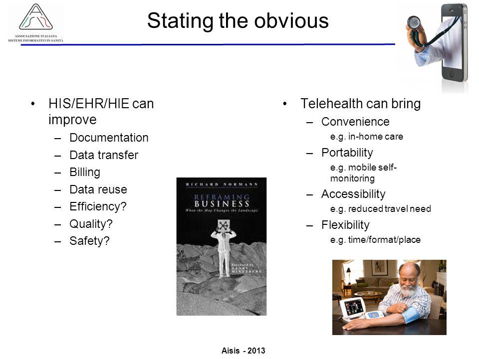 Aisis - 2013 Associazione Italiana Sistemi Informativi in Sanità Valutazione del Valore derivante dallutilizzo di ICT in Sanità Telehealth can bring –